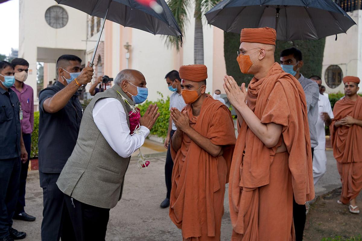 Honorable Chief Minister Of Gujarat Shri Bhupendrabhai Patel At Swaminarayan Dham, Gandhinagar